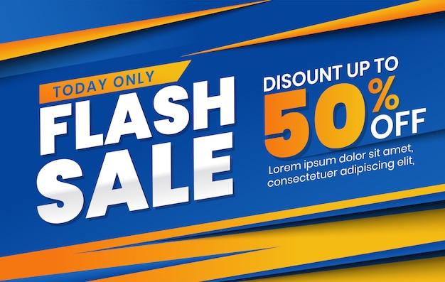 Modelo de banner de desconto de venda flash moderna em fundo laranja azul