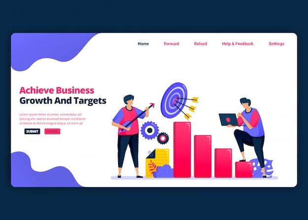 Modelo de banner de desenho animado para alcançar metas de crescimento e empregos de lucro de negócios. página de destino e modelos de design criativo de sites para negócios.