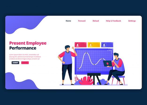 Modelo de banner de desenho animado para apresentação do desempenho dos funcionários para promoções. página de destino e modelos de design criativo de sites para negócios. pode ser usado para web, aplicativos móveis, pôsteres