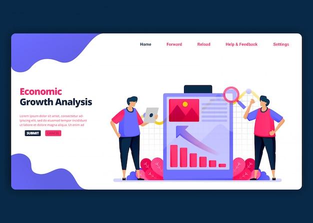 Modelo de banner de desenho animado para apresentação para desempenho e crescimento econômico. página de destino e modelos de design criativo de sites para negócios.