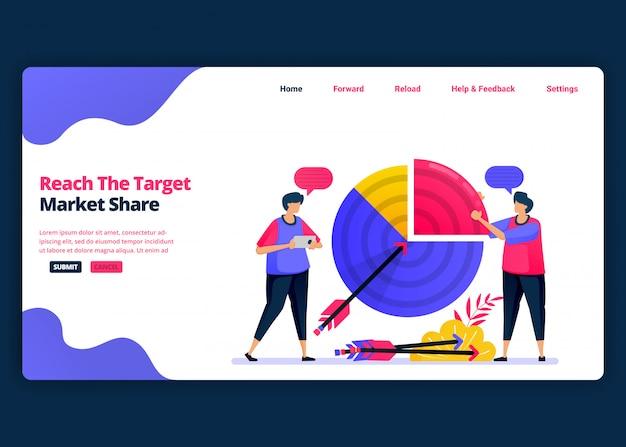 Modelo de banner de desenho animado para atingir a meta de participação de mercado e lucros de vendas. página de destino e modelos de design criativo de sites para negócios.