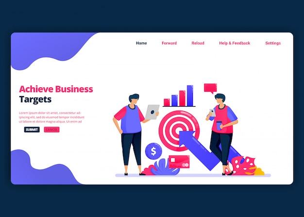Modelo de banner de desenho animado para atingir metas de negócios com análise financeira. página de destino e modelos de design criativo de sites para negócios.