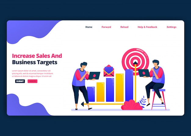 Modelo de banner de desenho animado para aumentar as metas de vendas e lucro nos negócios. página de destino e modelos de design criativo de sites para negócios.