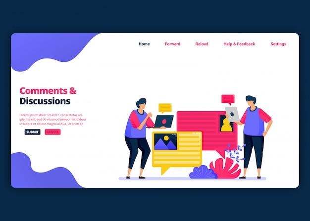 Modelo de banner de desenho animado para discutir e comentar com colegas sobre o trabalho. página de destino e modelos de design criativo de sites para negócios.