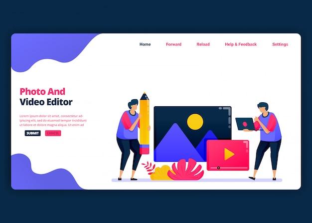 Modelo de banner de desenho animado para edição de vídeo e foto com software profissional. página de destino e modelos de design criativo de sites para negócios.