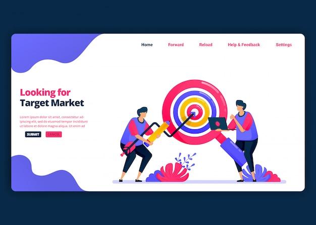 Modelo de banner de desenho animado para procurar mercados-alvo e quotas de clientes. página de destino e modelos de design criativo de sites para negócios.