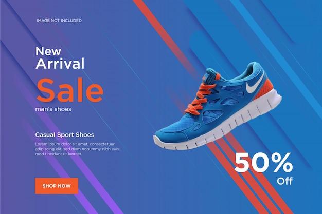 Modelo de banner de design de novos sapatos de chegada
