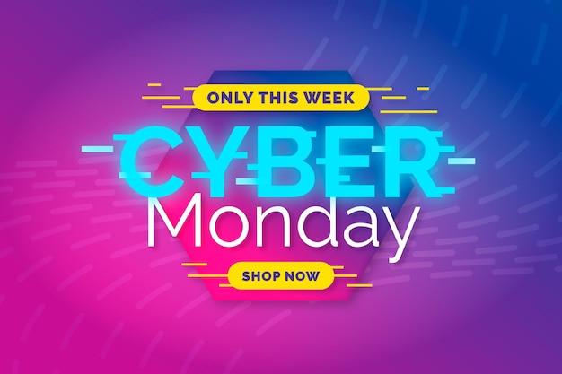Modelo de banner de design plano cyber segunda-feira