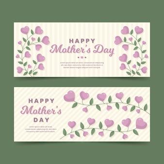 Modelo de banner de dia das mães de design plano