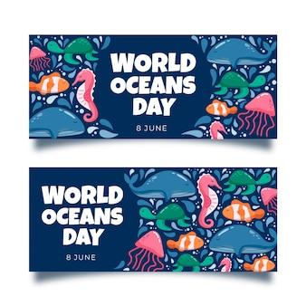 Modelo de banner de dia de oceano de água-viva desenhada de mão