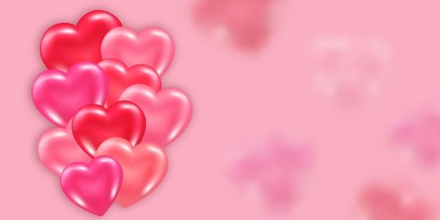 Modelo de banner de dia dos namorados com elemento decorativo de corações 3d brilhantes e brilhantes.