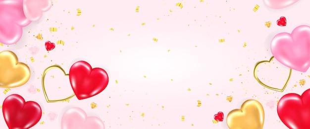Modelo de banner de dia dos namorados com elementos decorativos de corações 3d brilhantes, em forma de coração.
