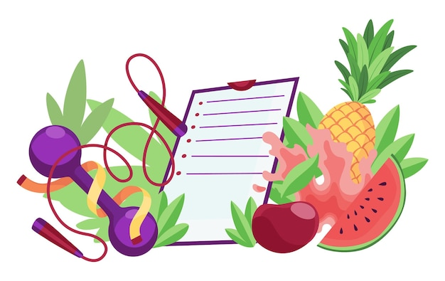 Modelo de banner de dieta estilo de vida saudável. equipamento desportivo e alimentação saudável com lista de verificação. conceito de nutrição adequada e controle de peso. plano de dieta em um notebook