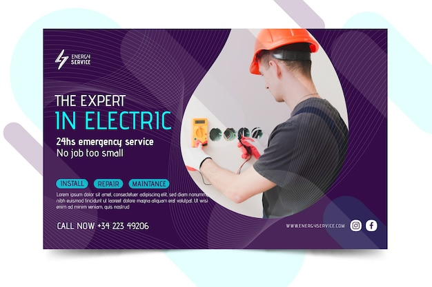 Modelo de banner de eletricista com foto