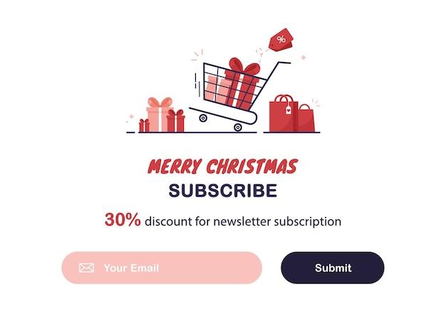 Modelo de banner de email marketing com assinatura de boletim informativo de natal ou ano novo