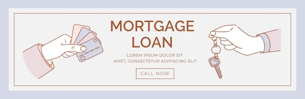 Modelo de banner de empréstimo hipotecário. mãos segurando cartões de crédito e chaves cartum ilustração.