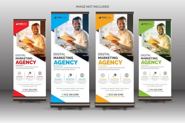 Modelo de banner de enrolamento corporativo criativo para uso comercial e polivalente