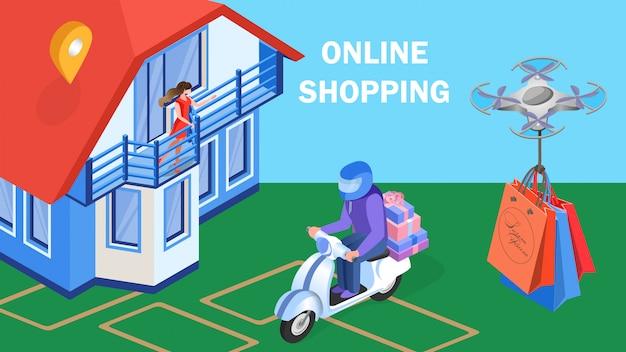 Modelo de banner de entrega expressa de compras on-line