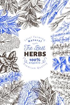 Modelo de banner de ervas e especiarias culinária.