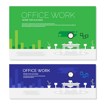 Modelo de banner de escritório