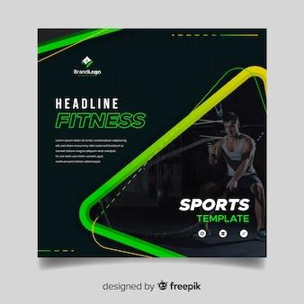 Modelo de banner de esporte com foto