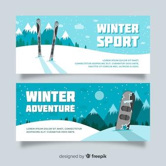 Modelo de banner de esporte de inverno