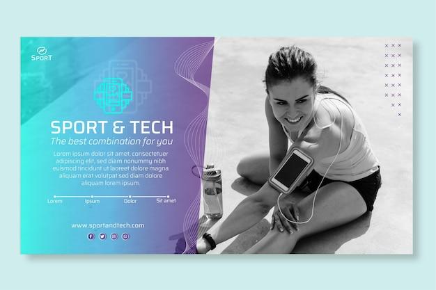 Modelo de banner de esporte e tecnologia