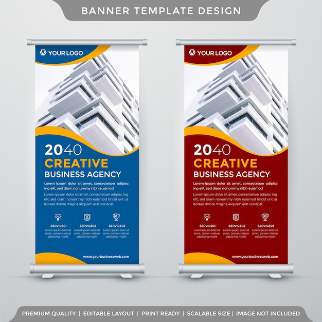 Modelo de banner de estande de negócios estilo premium