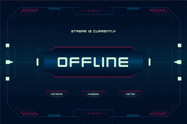 Modelo de banner de estilo de jogador de twitch offline
