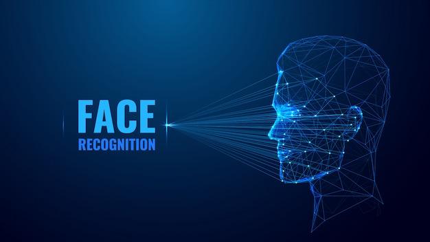 Modelo de banner de estrutura de arame de baixo poli de reconhecimento de rosto. tecnologia de computador futurista, design poligonal de cartaz de sistema de identificação inteligente. digitalização facial arte em malha 3d com pontos conectados