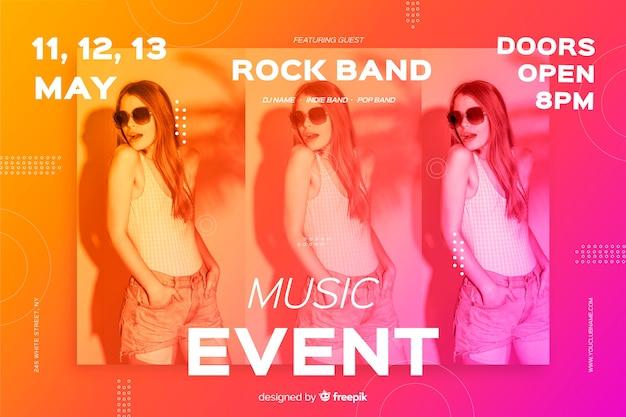 Modelo de banner de evento de música com foto