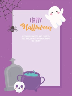 Modelo de banner de feliz dia das bruxas com aranha de lápides de crânio de caldeirão