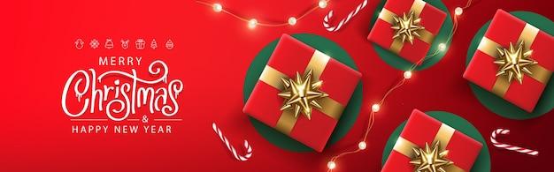 Modelo de banner de feliz natal decoração festiva para o natal