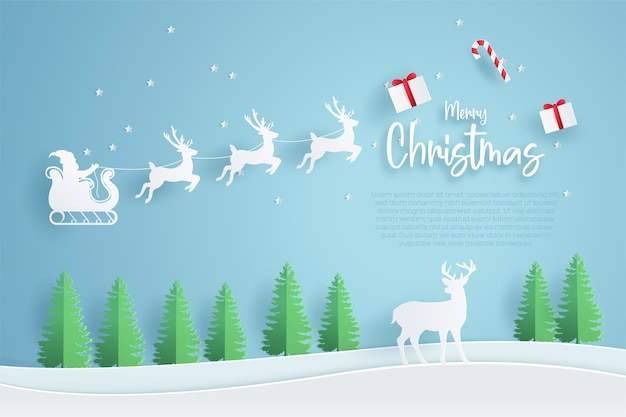 Modelo de banner de feliz natal. estilo de corte de papel.