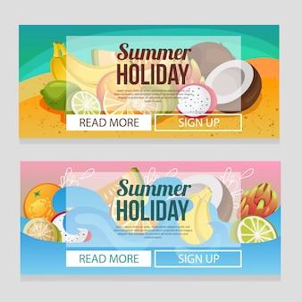 Modelo de banner de férias de verão colorido com frutas exóticas