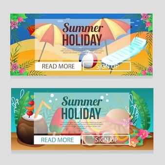 Modelo de banner de férias de verão colorido com praia relaxar guarda-chuva
