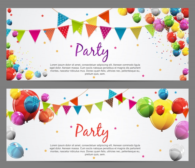 Modelo de banner de festa com bandeiras e balões