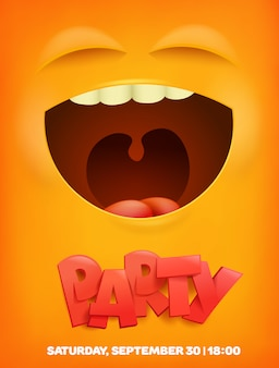 Modelo de banner de festa com rosto emocional amarelo. banner de vetor