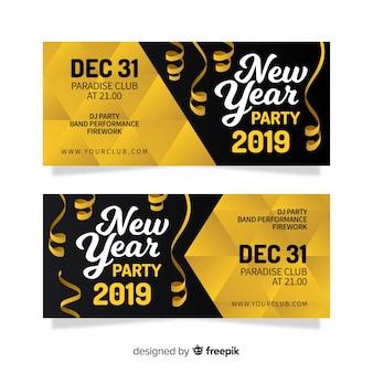 Modelo de banner de festa de ano novo streamer dourado