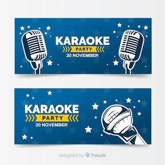 Modelo de banner de festa de karaoke desenhada de mão