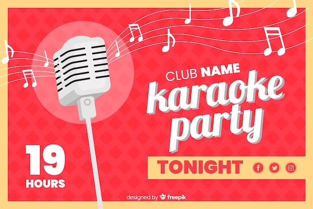Modelo de banner de festa de karaoke plana