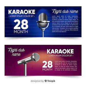 Modelo de banner de festa de karaoke realista