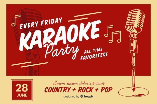 Modelo de banner de festa de karaoke retrô