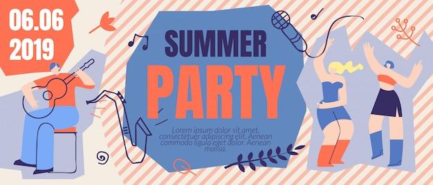 Modelo de banner de festa de verão flyer flyer ticket de ordem
