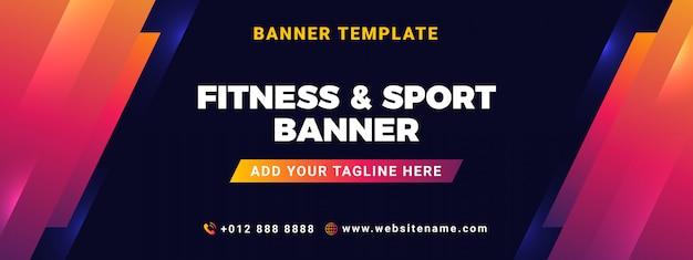 Modelo de banner de fitness e esporte