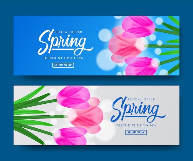 Modelo de banner de flor de tulipas para a primavera