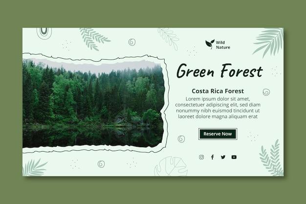 Modelo de banner de floresta verde