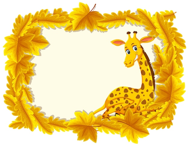 Modelo de banner de folhas amarelas com personagem de desenho animado de girafa