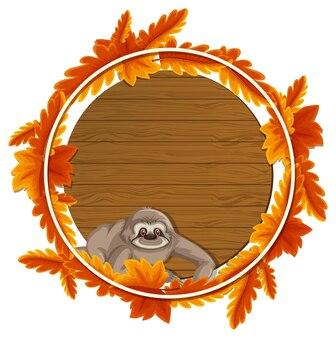 Modelo de banner de folhas de outono redondas com um personagem de desenho animado de preguiça