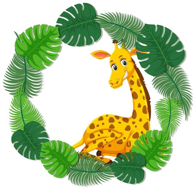 Modelo de banner de folhas verdes redondas com um personagem de desenho animado de girafa